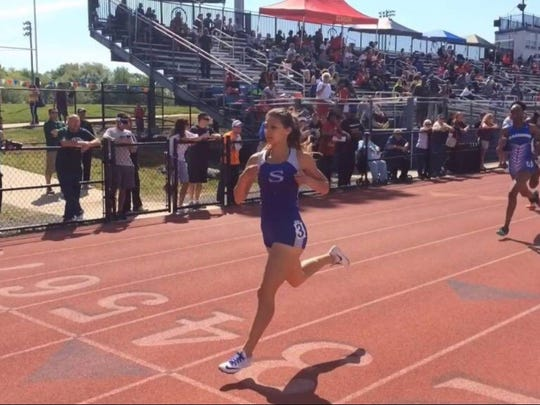 Sayreville's Dakota Gerges wins a race.