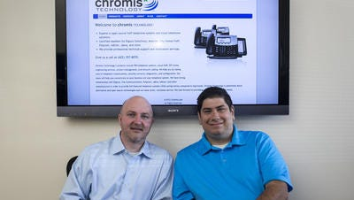 Chromis Technology founders Zach Garcia and Jonathan Rusk at their Tempe office.