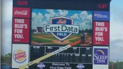 The New York Mets' spring training home in Port St. Lucie now is called First Data Field. The change was announced in February.
