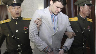 Otto Warmbier is detained for a 'hostile act.'