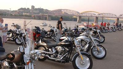 Motorcycles on show at The Newport Motorcycle Rally, which ran on Newport's riverfront July 3-6, 2014.