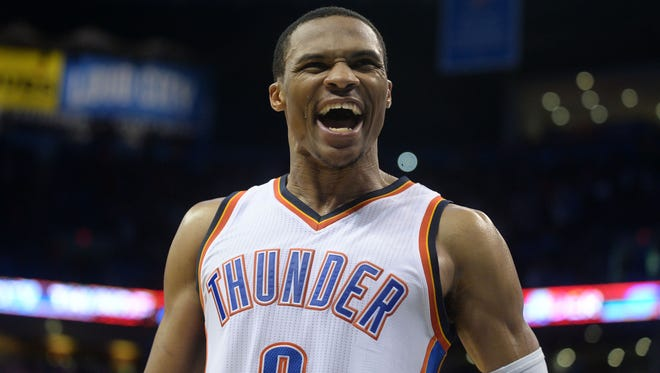 Oklahoma City Thunder guard Russell Westbrook (0) reacts after defeating the Phoenix Suns 113-110 in overtime at Chesapeake Energy Arena.