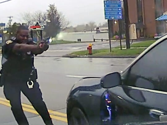 This still image from police dash camera video released