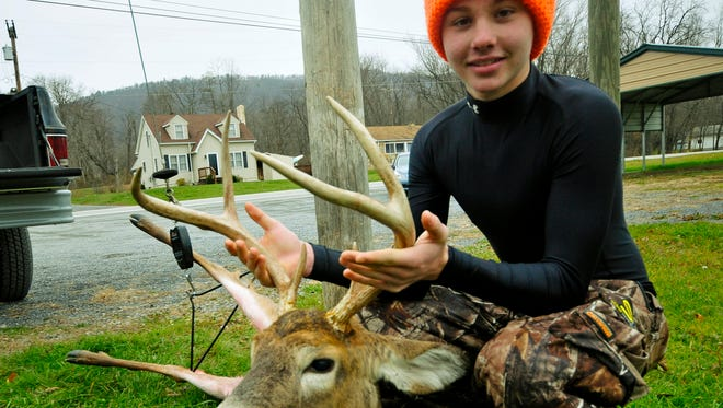 Chase Wenger, 15, Chambersburg, bagged a 6-point, 141.6 pound buck during the first day of deer rifle season on Nov. 30, 2015.