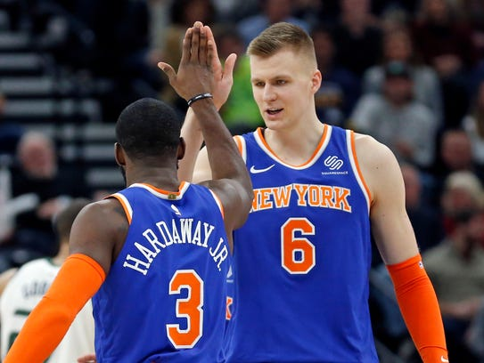 New York Knicks' Tim Hardaway Jr. (3) receives a high-five