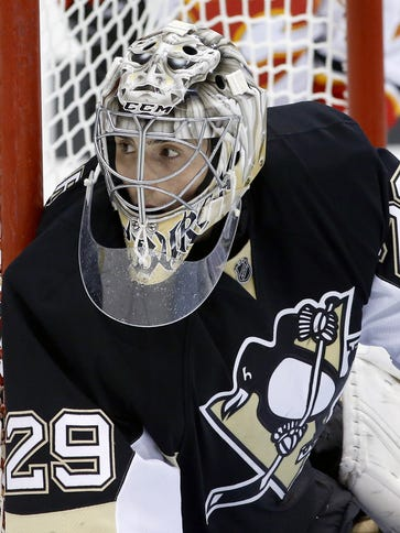 Pittsburgh Penguins goalie Marc-Andre Fleury is being
