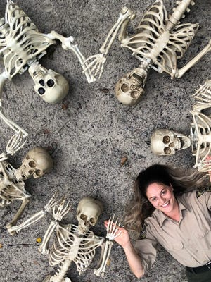 Katie Fitzhugh and the Noble Bones family. The scavenger hunts to find the family members will be taking place during October at Wormsloe State Historic Sites.
