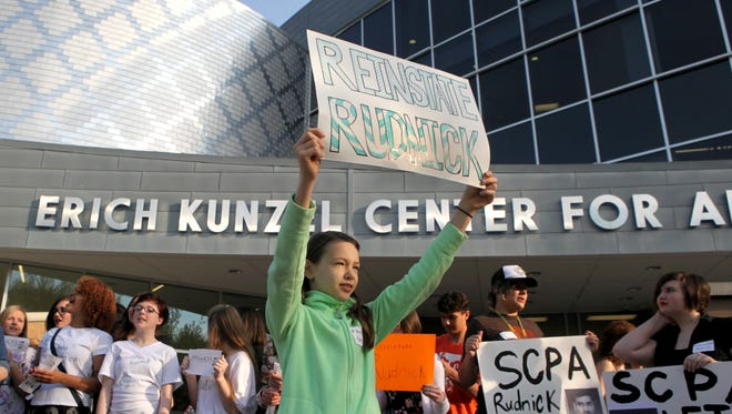 Students at the School for Creative and Performing Arts protested the reassignment of SCPA principal Steve Brokamp and artistic director Isadore Rudnick on May 4 in front of the school.