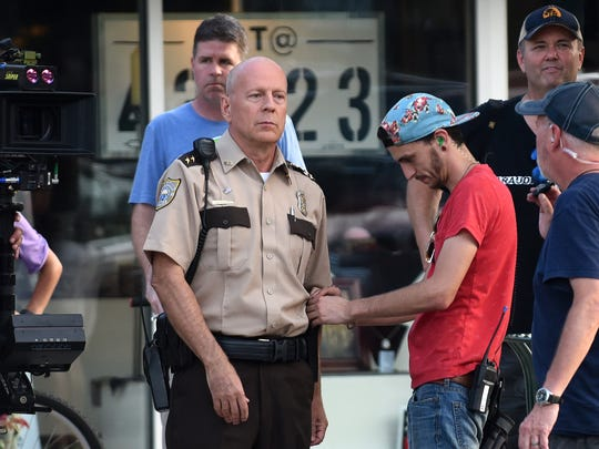 """Actor Bruce Willis in Granville filming """"First Kill."""""""