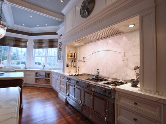 The kitchen at the Frick Estate, a new stone mansion in Alpine, N.J. March 28, 2014. Interior designer Terence Mack of Sparkill did the interior design and staging at the house.