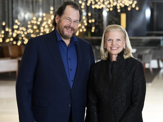 Salesforce chairman and CEO, Marc Benioff and IBM Chairman,