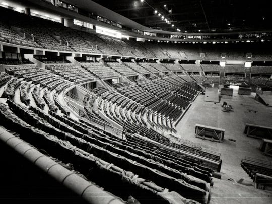 The interior of the Palace of Auburn Hills during the summer of 1988. The Palace opened Nov. 5, 1988, with the Pistons christening their new arena with a 94-85 victory over the Charlotte Hornets to kick-start a 63-win season and the franchise's first championship.
