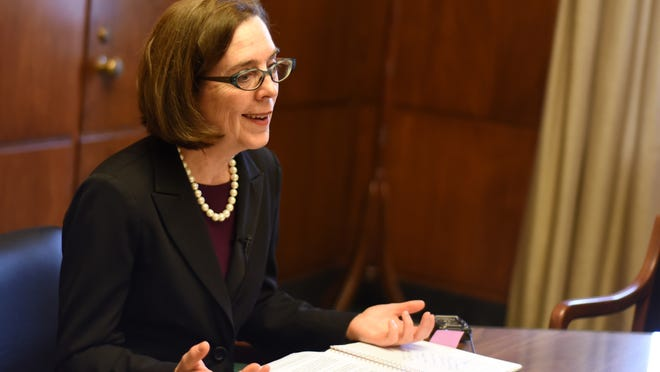 Gov. Kate Brown at the Oregon State Capitol on April 1.