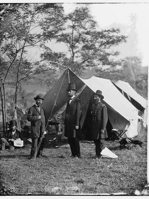 Allan Pinkerton, President Abraham Lincoln, and Maj. Gen. John A. McClernand at Antietam in 1862.