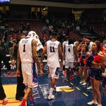 Louisiana Tech players walk off the court in disappointment after last year's loss to UAB. The Bulldogs and Blazers play Saturday at 1 p.m. at the Thomas Assembly Center.
