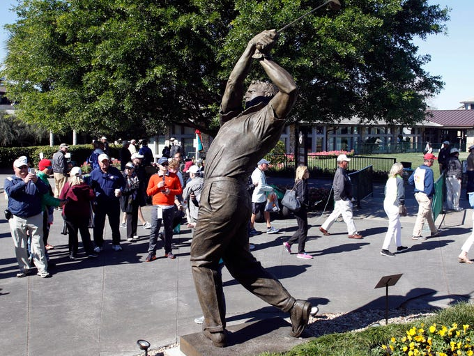 A statue dedicated to golf legend Arnold Palmer is