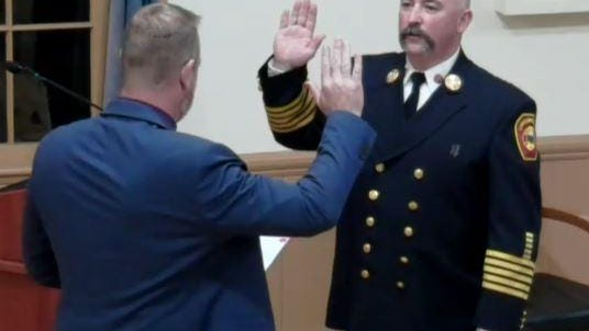 Jason Lajoie was officially sworn in as the town's fire chief Monday night by Town Administrator Mike Tully.
