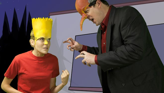 """Bart (Brianne Holland-Stergar) and Mr. Burns (BJ Garrett) face off in Act 3 of the Space 55 production of """"Mr. Burns, a post-electric play."""""""
