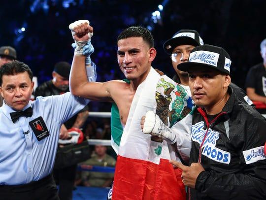 Jose Benavidez reacts after defeating Francisco Santana