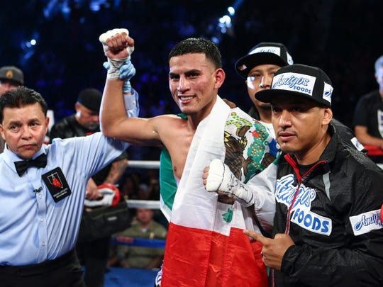 Jose Benavidez reacts after defeating Francisco Santana