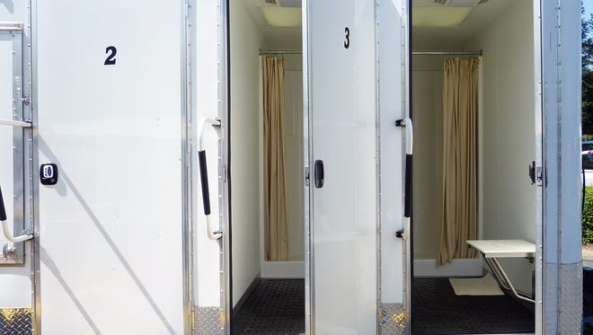 The Clean Break Partnership offered showers from this mobile shower unit for 12 weeks last year.