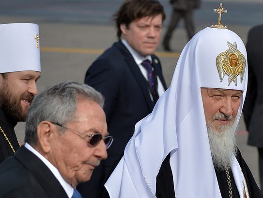Cuban president Raul Castro, welcomes Patriarch of