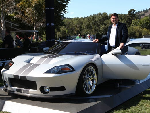 Beau Boeckmann from Galpin Auto Sports, shows off the new Galpin Ford GTR1, designed to evolve in the tradition and evolution of the Ford GT had it continued.