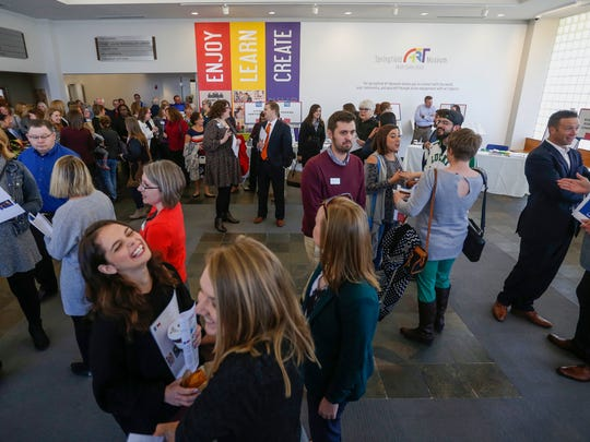 Increasing Springfield Art Museum attendance has been a goal for many years. In this Oct. 24, 2017 photo, folks visit in the renovated museum lobby following an event devoted to the 2017 Community Summit Release
