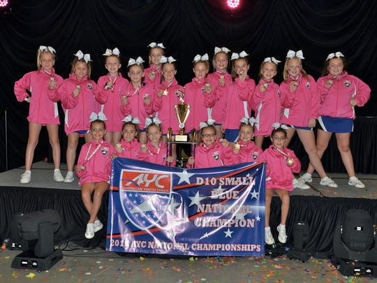 The third-place Huskies Pee Wee Cheer team includes: Ariella Aponte, Gianna Balut, Jennifer Bekos, Grace Blauvelt, Emma Clarke, Lucy Cornyn, Nicolena Crisologo, Faith Del Polito, Gina Desanctis, Alyssa Donoghue, Kenya Edwards, Gia Hart, Skylar Hekler, Alyssa Klimas, Zoe Kravetsky, Callie Lynn, Joelle Meekins, Izabel Metelski, Amanda Niebling, Katie Padmos, Madelynn Ramos, Natalie Reed, Caitlin Rooney, Emily Rush, Lilyana Saldivia, Emma Scarperi, Amanda Shilay, Ryli Stoker, Rainna Suler, Kaitlyn Teen, Morgan Volpe, Grace Weller, Samantha Wilton, and Amanda Zeszotarski. The team is coached by Chris Rush, Tanya Hekler, Stacie Metelski, Mindy Pepe and Monica Shilay. Junior Coaches include Caroline Bennett, Emily Eugenio, Brighid Gibney and Abigail Whalen.