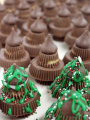 Small and large peanut butter cups, a chocolate drop,