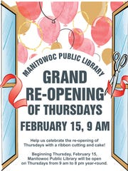Post promoting Manitowoc Public Library's grand re-opening.