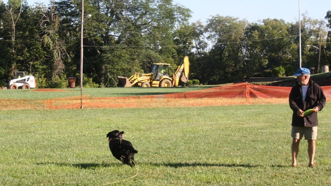 Bob McCaslin, of Fort Thomas, tosses a Frisbee with his Labrador retriever Abbey at Highland Hills Park in Fort Thomas as construction crews dig a new first base dugout area for a new baseball field complex.