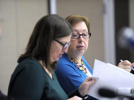 Democrats Jeannette Bradshaw, left, and Julie Maturak initially opposed approving a measure repealing the state's prevailing wage law for the November ballot, but the state Court of Appeals ordered them to pass the measure.