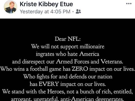 This is the Facebook meme that Col. Kriste Kibbey Etue