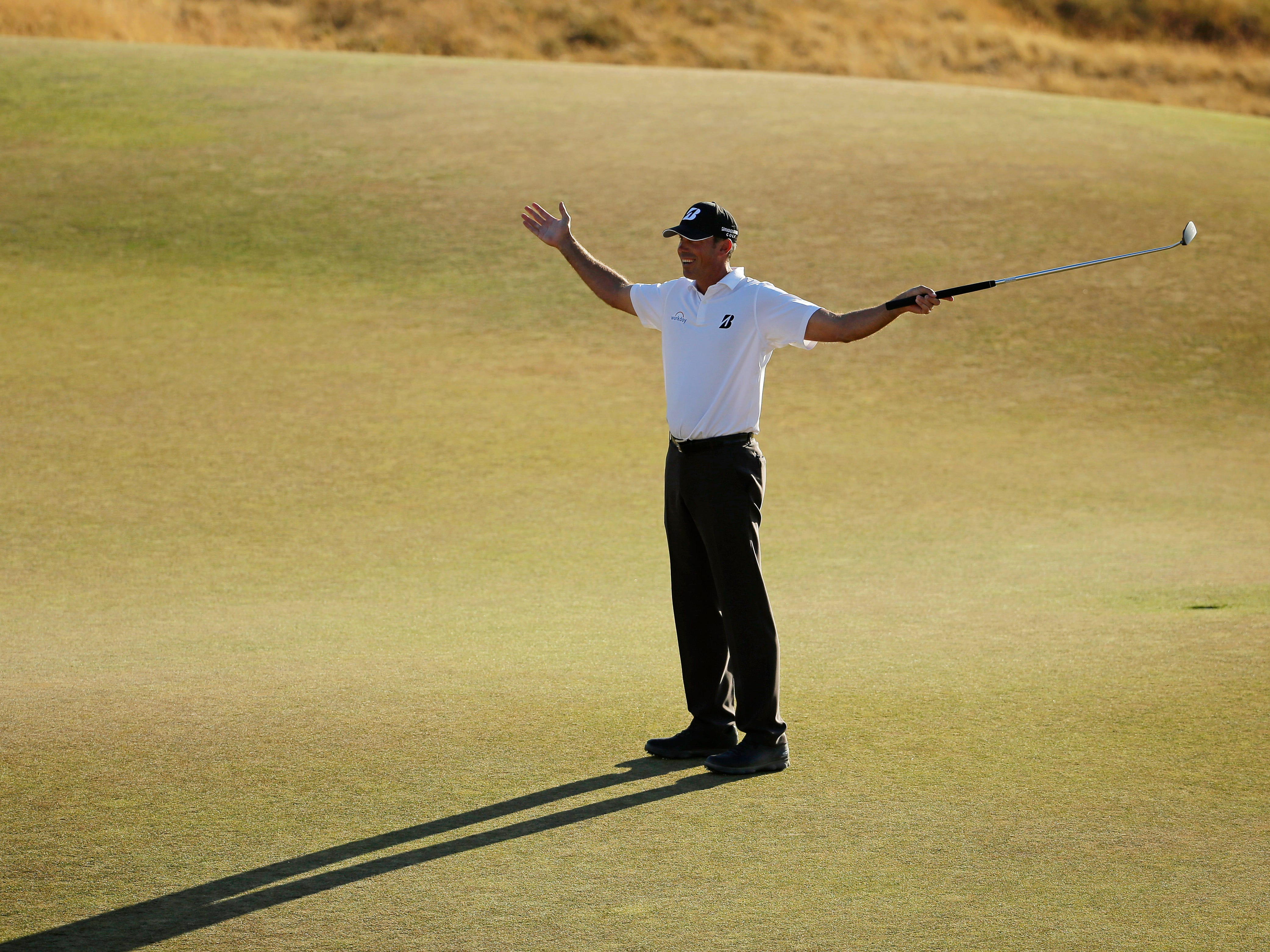 Matt Kuchar reacts to his putt on the 18th hole during the second round of the U.S. Open golf tournament at Chambers Bay on Friday, June 19, 2015 in University Place, Wash. (AP Photo/Ted S. Warren)