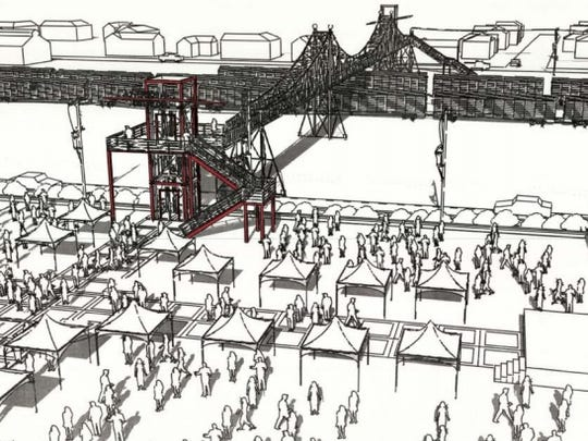 The illustration shows what the south-side approach of the Jefferson Avenue Footbridge could look like.
