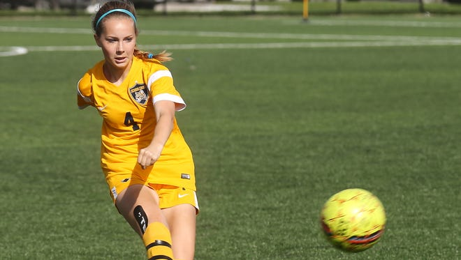 Megan Schulz, of Farmington, was one of the standouts for Schoolcraft's women's soccer team in regionals.