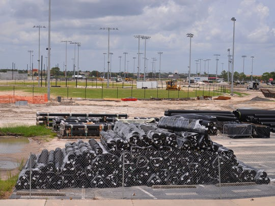 Construction crews  surround Space Coast Stadium, building and upgrading practice fields and infrastructure on the property. The upgrades are being funded with $10 million from the Brevard County's 5 percent Tourist Development Tax on hotel rooms and other short-term rentals, plus $22 million from the U.S. Specialty Sports Association.