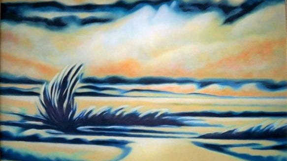 """""""Big Blue Sage"""" is a painting included in """"Magnificent Serenity,"""" a collection by Ellen Leidl, which opens during the art walk and runs through April at Gallery 16."""