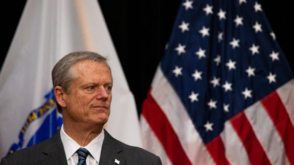 Gov. Charlie Baker at a State House news conference Wednesday.