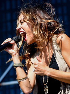 Hometown Star Jana Kramer performs on the main stage late Saturday afternoon at the Downtown Detroit Hoedown