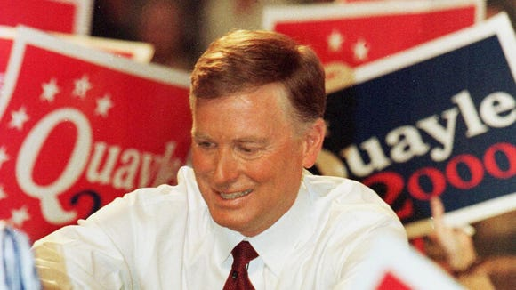 Former Vice President Dan Quayle shakes hands with supporters at Huntington High School in Huntington, Ind., April 14, 1999, after announcing  he would seek the presidency for the 2000 election.