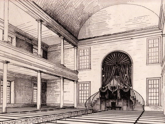 """Interior of the church as originally proposed. However, the """"barrel"""" center ceiling, is not accurate, it was actually a """"groin"""" vault."""
