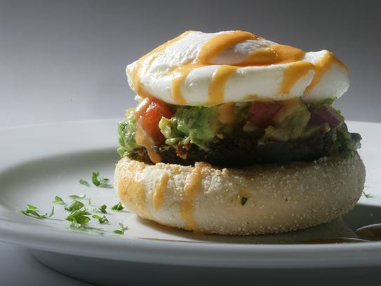 Eggs benedict with chorizo sausage in the test kitchen,