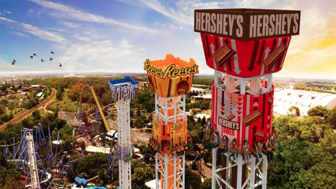Hersheypark, where one of the attractions is the Triple Tower, will be opening in July.