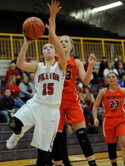 Piketon's Gracie Lightle scores during the third quarter
