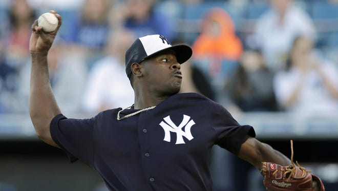 The Yankees' Luis Severino pitches to the New York Mets during the first inning of a spring-training game in Tampa, Fla., Tuesday night.