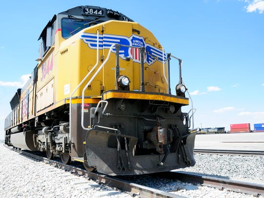 A road engine sits on the tracks at the Union Pacific