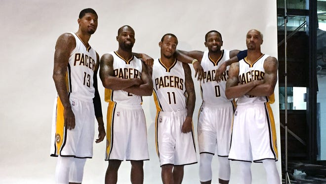 (From left) Paul George, Rodney Stuckey, Monta Ellis, C J Miles and George Hill pose at Pacers media day Sept. 28, 2015.