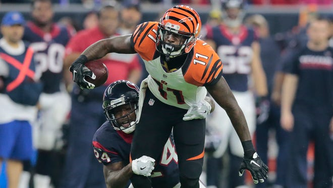 Cincinnati Bengals wide receiver Brandon LaFell (11) tries to shake Houston Texans cornerback Johnathan Joseph (24) after a reception in the second quarter during the Week 16 NFL game between the Houston Texans and the Cincinnati Bengals, Saturday, Dec. 24, 2016, at NRG Stadium in Houston, Texas. The Cincinnati Bengals lead 3-0 at halftime.